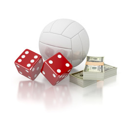 gambling with dice. volleyball winning money