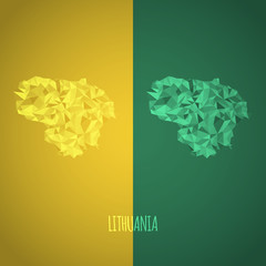 Low Poly Lithuania Map with National Colors