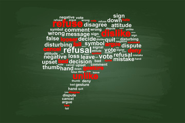 Thumbs Down Refuse Word Cloud Vector On Green Chalkboard