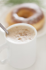 Cappuccino Coffee with chocolate donut
