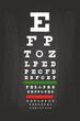 Eye Chart Test For Medical Use On Green Blackboard