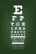 Eye Chart Test For Medical Use On Green Chalkboard