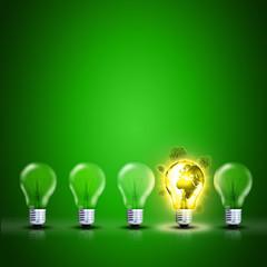 Umweltschutz Konzept mit Glühbirnen