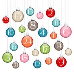 Advent Calendar Christmas Balls Retro