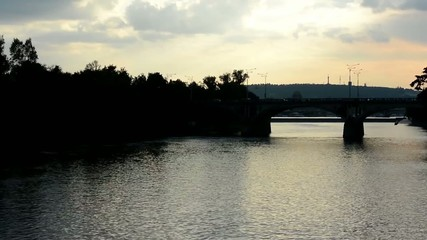river with bridge for train - cloudy sky (sunset) - nature
