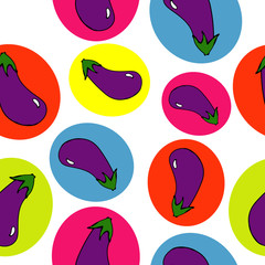Eggplant seamless pattern. bright circles. White background