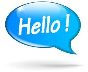 Vector blue hello speech bubble