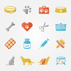 Bright veterinary pet vector icons set