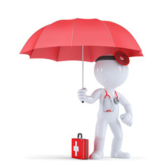 Doctor with umbrella. Health protection concept. Isolated