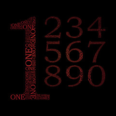 set of number created from text - illustration