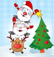 santa claus whit reindeer cartoon .santa claus whit reindeer car