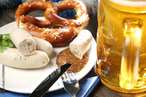 Fotobehang Snack Bayrisches Weißwurstfrühstück