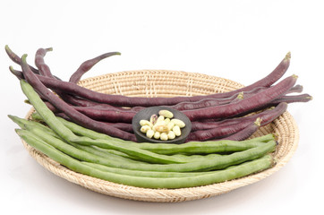 Fresh yardlong red bean and green bean on a white background
