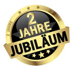 """Button mit Banner """" 2 JAHRE JUBILÄUM """""""