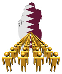 Lines of people with Qatar map flag illustration