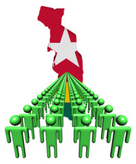 Lines of people with Togo map flag illustration
