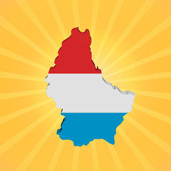 Luxembourg map flag on sunburst illustration