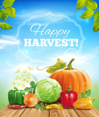 Harvest time sunny background. Vector