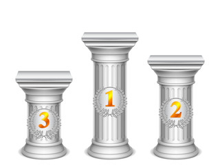 Three antique columns with numbers.
