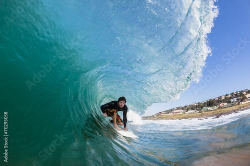 Surfing Inside Crashing Wave Poster
