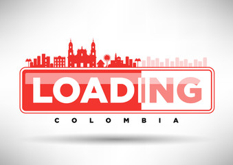 Bogota Skyline Loading Typographic Design