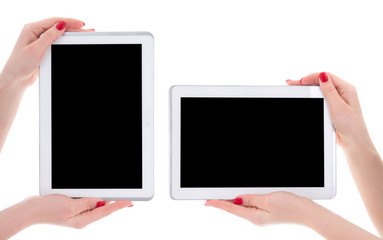 horizontal and vertical view of modern tablet pc with empty copy