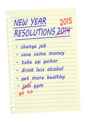 New Year Resolutions - list. Same again 2015. Isolated on white
