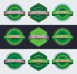Retro eco badges. EPS10.