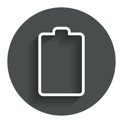 Battery empty sign icon. Low electricity symbol