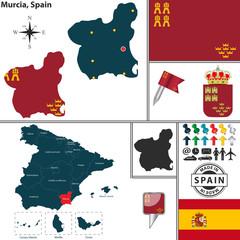 Map of Murcia, Spain