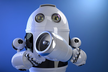 Robot holding a Jet Engine. Technology concept. Contains clippin