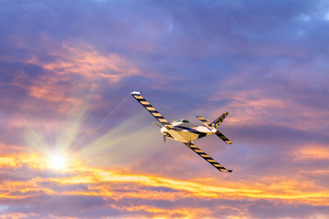 Flying toward the sunset