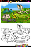 reptiles and amphibians coloring book poster