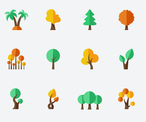 Trees set - flat design