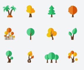 Trees set - flat design