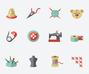 Sewing and needlework icons - flat design
