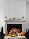 White fireplace decorated with pumpkins for Halloween - 70296223