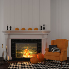 Vintage orange armchair near the fireplace