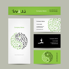 Yin Yang made from yoga asana. Set of business cards design