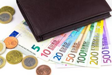 Portemonnaie und Euro Banknoten
