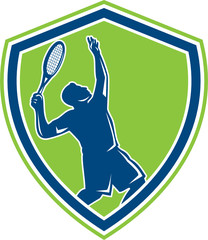 Tennis Player Silhouette Serving Shield Retro