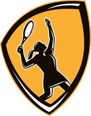 Tennis Player Female Racquet Shield Retro