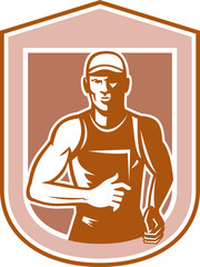 Marathon Runner Running Shield Retro