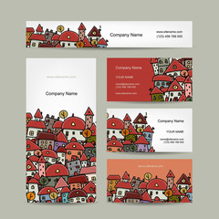 Business cards design, cityscape sketch