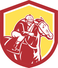 Jockey Horse Racing Shield Retro
