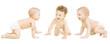 Leinwanddruck Bild - Baby Group Crawling In Diaper, Toddler Children Happy Smiling