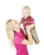 Mother Child Portrait. Happy Woman Raise Up Smiling Son