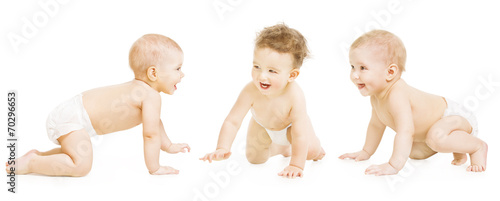Fototapeta Baby Group Crawling In Diaper, Toddler Children Happy Smiling