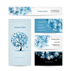 Business cards design, winter tree