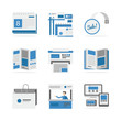 Various advertising materials flat icons set